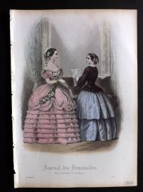 Journal des Demoiselles C1850 Antique Hand Col Fashion Print 28